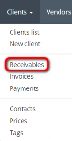 Clents receivables menu.png
